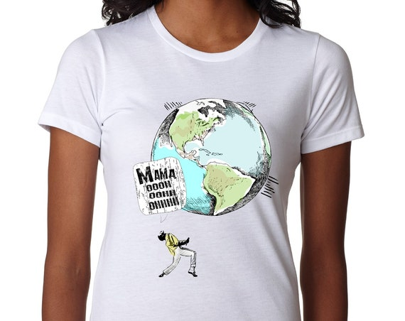 Queen - Freddie Mercury Earth Day:  Tshirt, Women or Mens