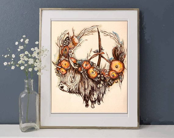 Happy Highland Cow - BOHO Style Peace Wreath - Original Watercolor and Ink - FRAMING Matte Included!