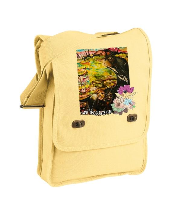 Save the Giants Mom and Pups -Messenger Bag - Original Otter Art