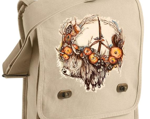 Highland Cow For Peace - Original Artwork - Messenger Bag