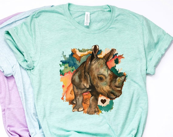 Watercolor Rhino - Prism Color - Unisex T - 3001