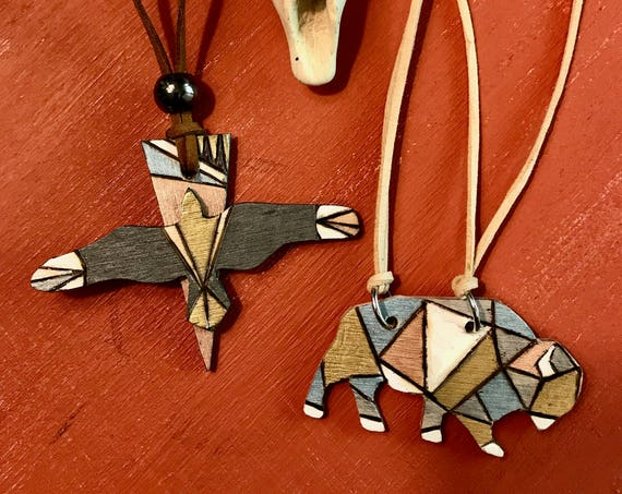 Conservation Critter Necklaces - Geometric Bison and Raven Statement Necklaces