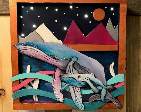 Starry Night, Light Up Shadow Box, Humpback Whales - Handmade
