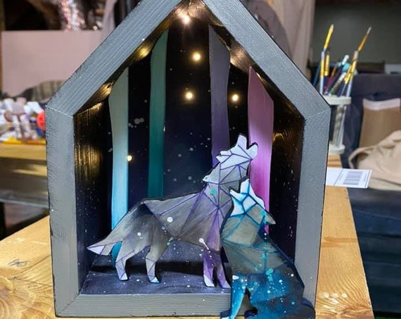 Starry Night, Light Up Shadow Box, Wolves- Handmade
