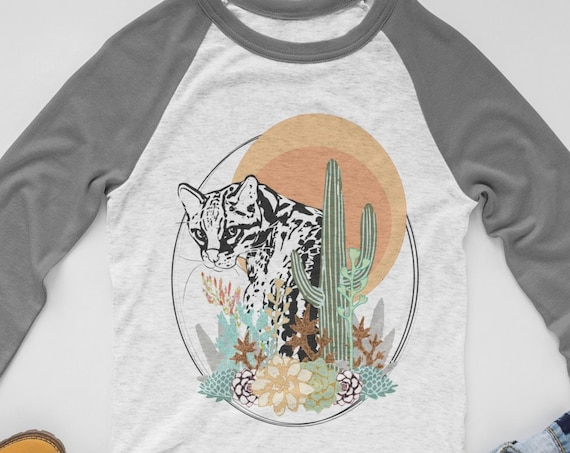 Ocelot - Original Artwork  - Unisex Baseball Tshirts - 3 Different Text Options!