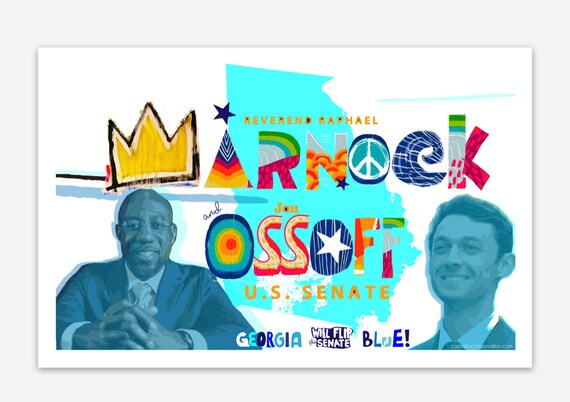 Warnock Ossoff Senate Flip Blue Stickers