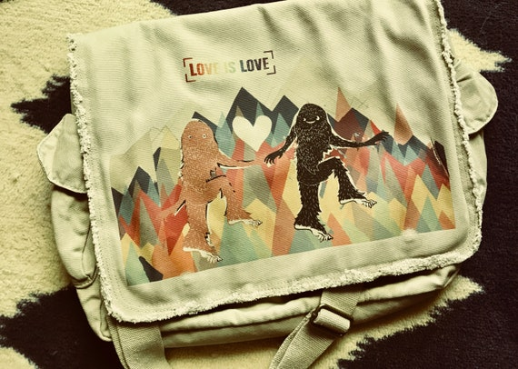 Love is Love Sasquatch Style - Satchel - Original Otter Art