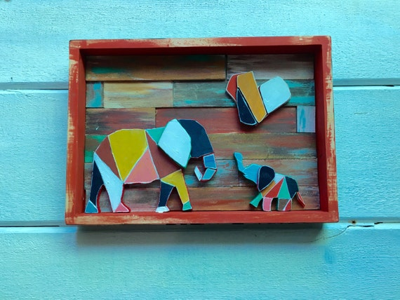 Geometric, Colorful Elephant Family, handcrafted wooden cutouts on a weathered wooden frame