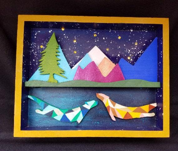 Starry Night, Light Up Shadow Box, Otters - Handmade