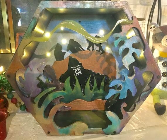 Light Up Fantasy Jungle Gorilla Shadowbox -  handmade 3D Wood Art that lights up!