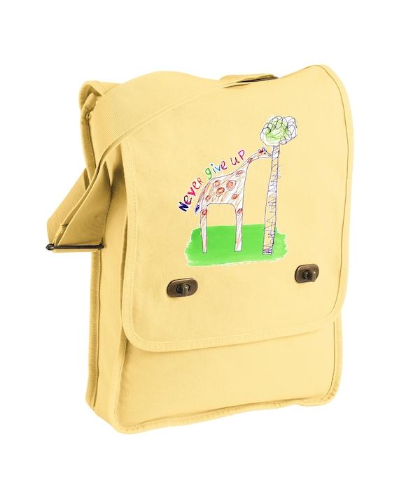 Never Give Up - Giraffe - Original Artwork by Evin - Messenger Bag