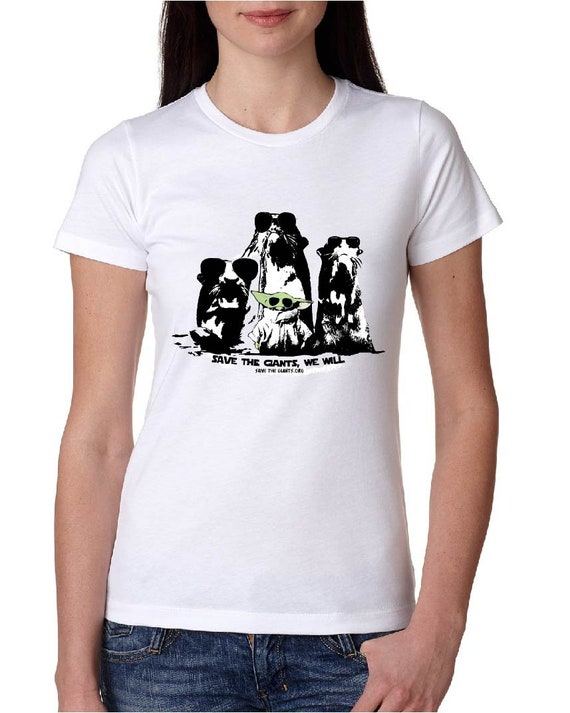 Save the Giants, We Will - Baby Yoda - Original Artwork -  Save the Giants - Fitted Women Tshirt