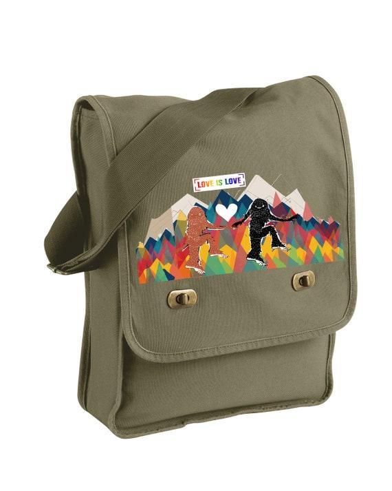 Love is Love Sasquatch Style -  Messenger Bags! - Original Artwork