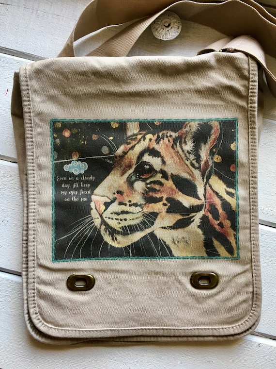 Even on a Cloudy Day, Clouded Leopard Messenger Bag. Original clouded leopard painting.