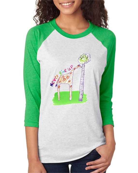 Never Give Up - Giraffe - Original Artwork by Evin - Unisex Baseball Tshirts