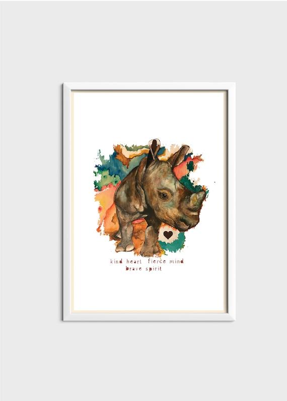 Kind Heart, Fierce Mind, Brave Soul - Rhino - Original Artwork - Prints