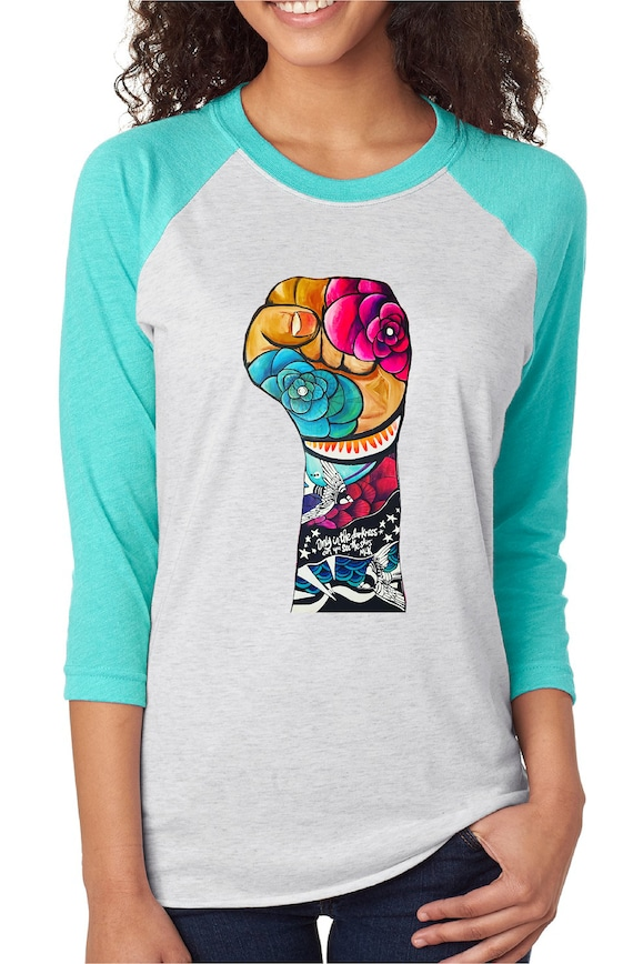 Resist Fist  - Original Artwork  - Unisex Baseball Tshirts