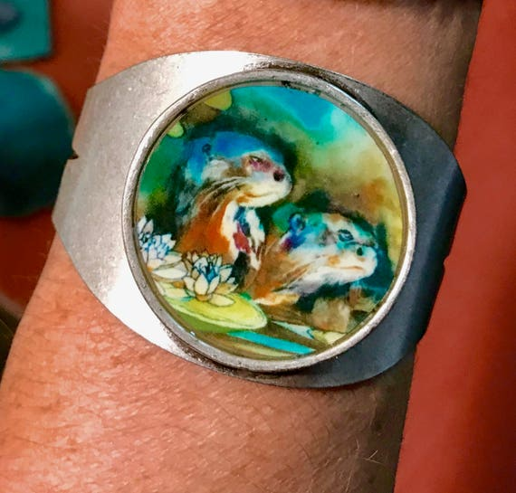Giant Otters and Lilies - Cuff Bracelet