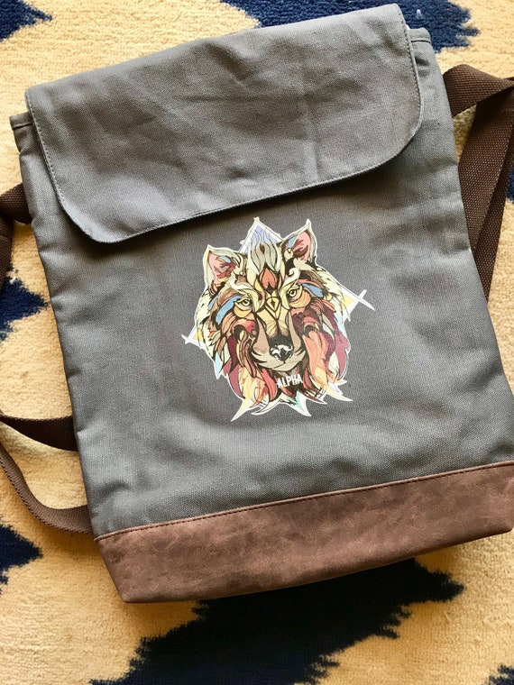 Alpha Wolf Canvas Rucksack - Available in 6 colors