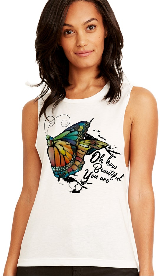 Yoga Butterfly - Oh How Beautiful You Are - Lightweight Festival Muscle Tank