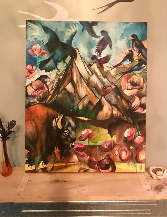 Bison and Swallows Original Painting, Acrylic and Pen on Birchwood