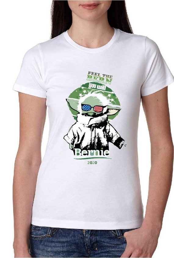 Feel the Bern, You Will - Baby Yoda - Original Artwork - Women's Fitted Tshirt