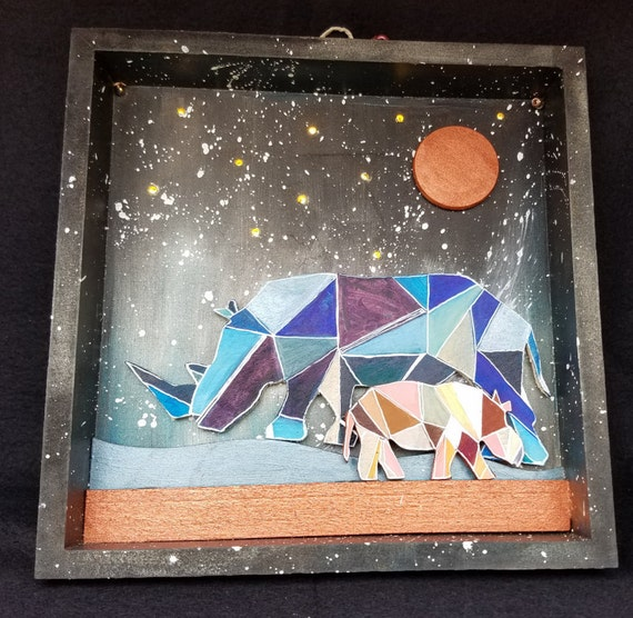Starry Night, Light Up Shadow Box, Rhinos - Handmade