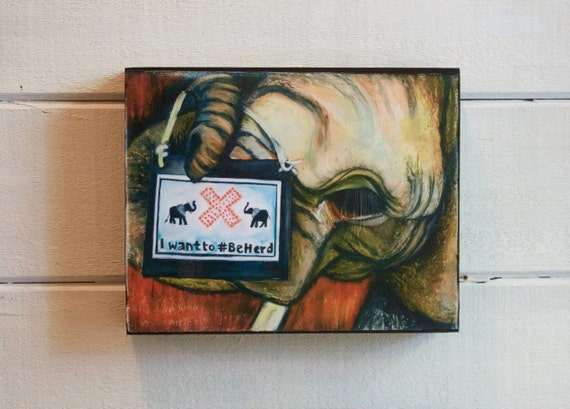 I Want To Be Herd, Elephant Wooden Wildlife Block