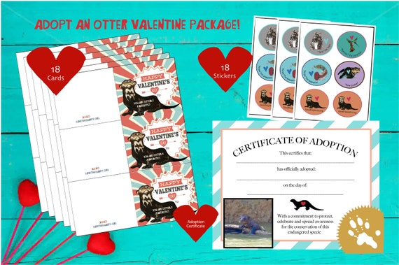 Adopt an Otter Valentine Card Package