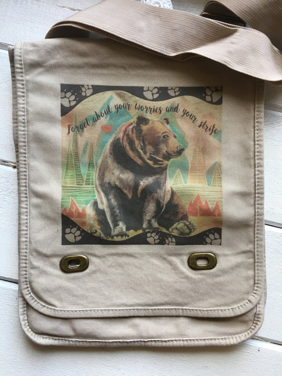 Bear Necessities, Fundraiser Messenger Bag. 20 of this purchase goes to the bear enrichment fund at the Houston Zoo!