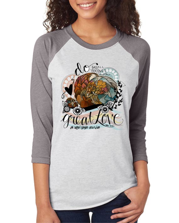 Do Small Things With Great Love - Mom and Baby Pangolin - Original Artwork  - Unisex Baseball Tshirts