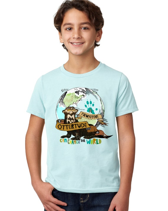 A PAWsitive OTTERtude Can Change the World - Giant Otter -  Earth Day - Kid's Tshirt