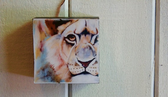 "Lion, Wood Block ""Wildlife Block"" - Shipping Included in Price"