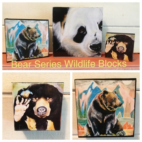"Panda, Grizzly and Sun Bear ""Wildlife Blocks"" - Original prints on a birchwood frame"