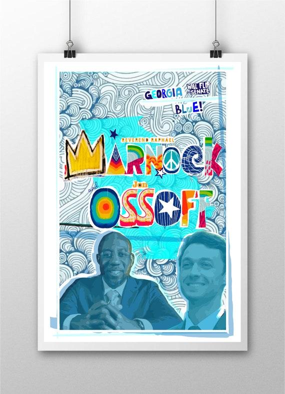 Raphael Warnock and Jon Ossoff Poster - Georgia Flips the Senate Blue  - Original Artwork - Prints