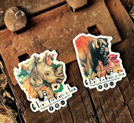 """STICKERS! - Rhino and Bison Original Artwork - Vinyl Stickers -4""""x2"""""""