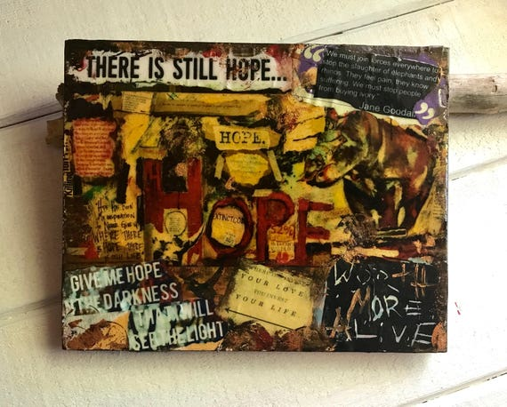 There's Still HOPE - Rhino Original Artwork - Collage on Birchwood Frame