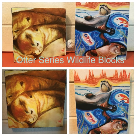 "Otter ""Wildlife Blocks"" - Original prints on a birchwood frame"