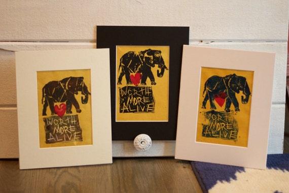 Worth More Alive Elephant Original Block Cut Painting, Linocut