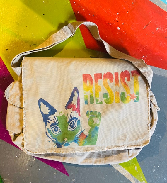 Resist Cat -  Khaki Satchel Bag