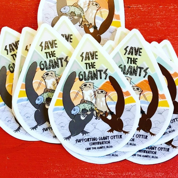 "STICKERS! - Save the Giants - Giant Otter Original Artwork - Vinyl Stickers - 3.5""x3"""