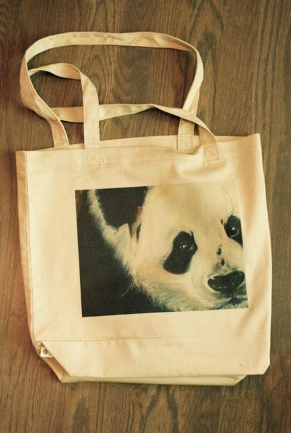 Panda Bear Organic Canvas Totes