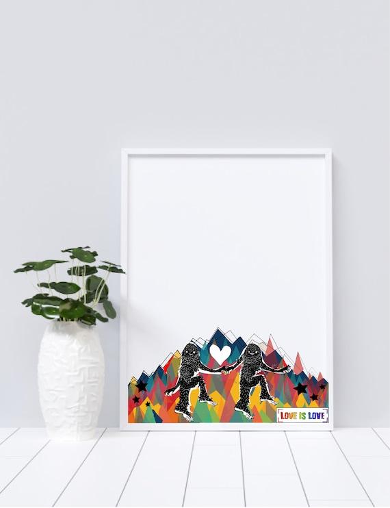 Love is Love, Sasquatch - Original Artwork - Prints