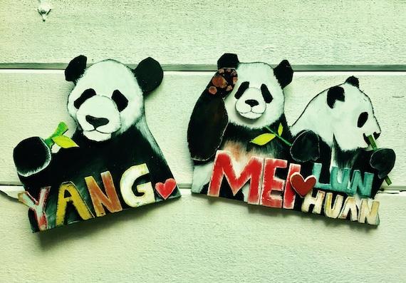 Handcut Panda Signs; Yang Yang, Mei Lun and Mei Huan