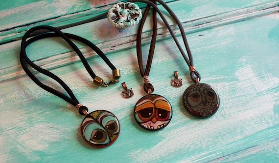 Hand Painted Owl Necklaces, with Owl Bezel