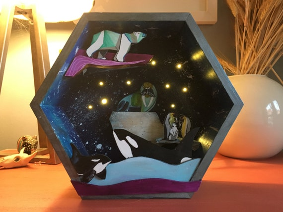 Starry Night - Nautical Animals, handmade 3D Wood Art that lights up!