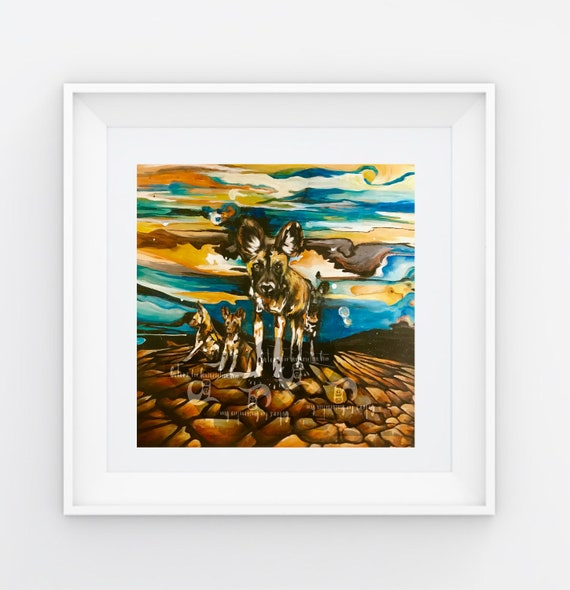 Painted Dogs on The Brink - Original Artwork - Prints  (Giclee) - 3 sizes available
