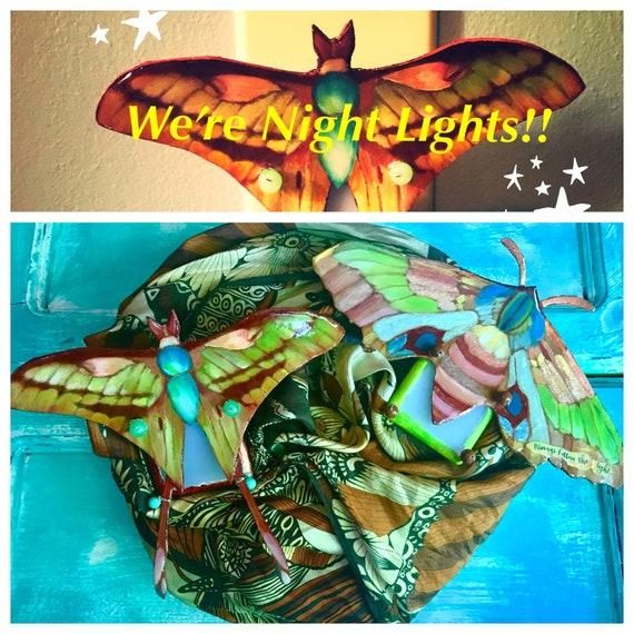 Whimsical Moth LED Night Lights with built in light detection sensor