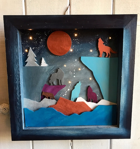 Starry Night, Light Up Shadow Box, wolves - Handmade