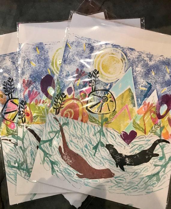 Otters In the Meadow - Original Block Cut Painting, Linocut
